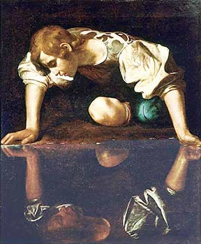 Narcissus by Caravaggio depicts Narcissus gazing at his own reflection (public domain)