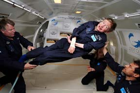 Stephen Hawking in zero gravity (NASA)